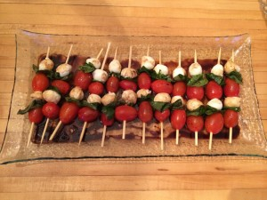 Caprese salad sticks