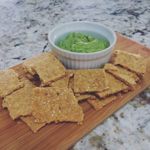 Onion sesame crackers and guac